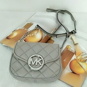 Michael Kors Gray Small Fulton Quilted Crossbody